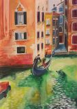 Watercolor, Venice, Italy, gondolier in a gondola, channels, streets