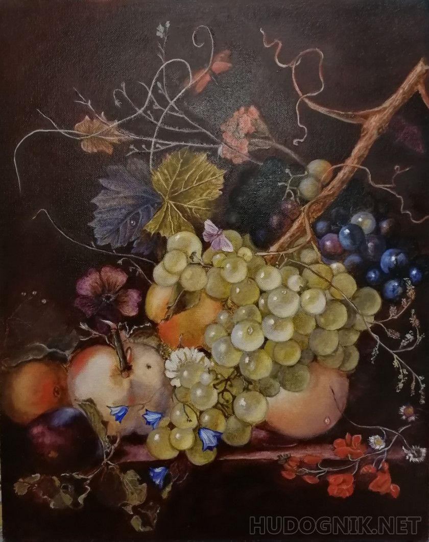 Copy of Jan van Huysum still life with peaches