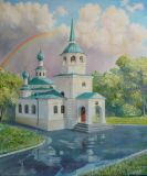 Church of the Holy Trinity in Ulan-Ude after a rain