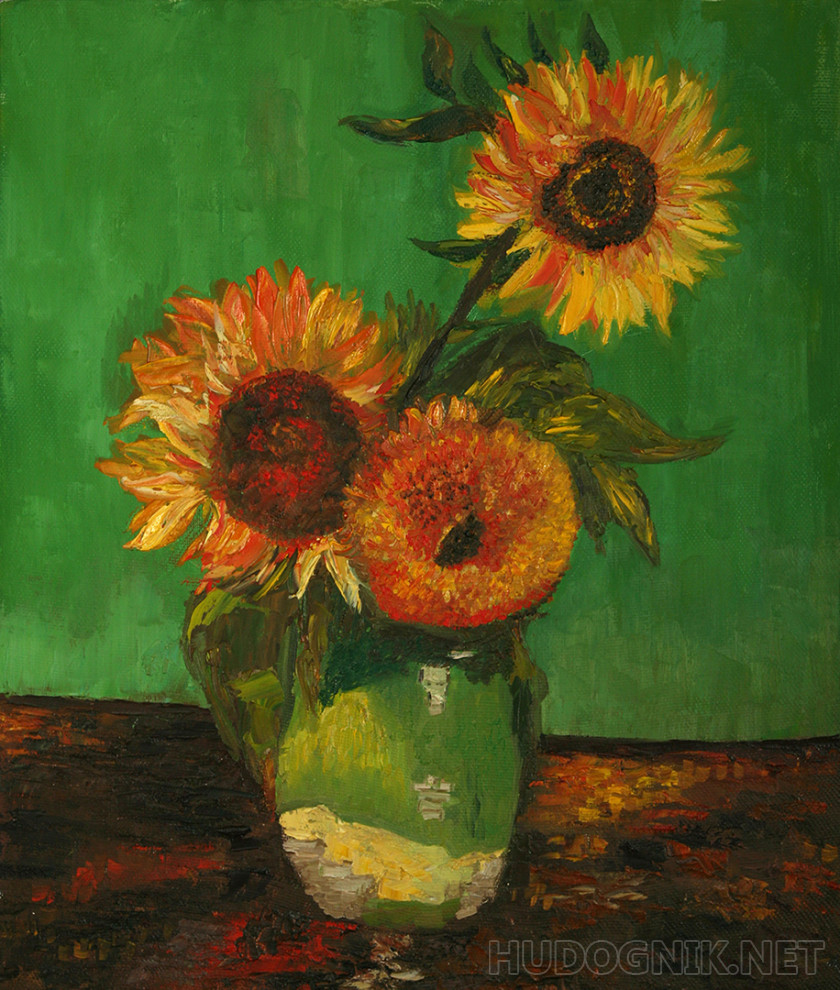 Copy van Gogh Three sunflowers in a vase
