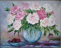 """Still life with peonies and cherry"