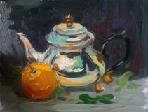 Still life with teapot and tangerines