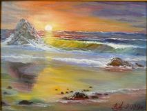 """Sunset on sea"","