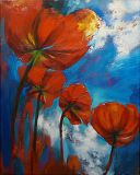 """Afghanistan. Landscape with poppies"""