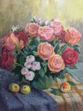 Roses on checkered tablecloth