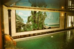 Mural in the interior of the pool