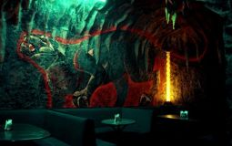 "The interior of the club ""the Cave"""