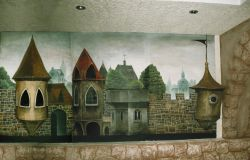 Relief-mural paintings in the interior of the cafe