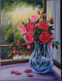 "Oil painting ""Roses in a transparent vase."""