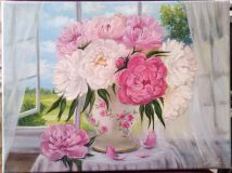 "Oil painting ""Peonies in the window."""