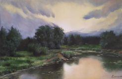 Evening landscape on the swamp