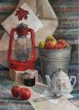 Still life with red lamp