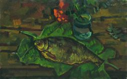 Still life with fish on leaves