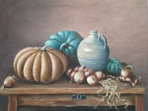 Still life with pumpkins and onions.