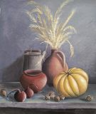Still life with pumpkin and wheat.