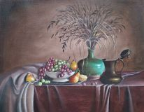 Still life with green vase, fruit and Turka.