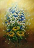 Bouquet of daisies, cornflowers and sunflowers