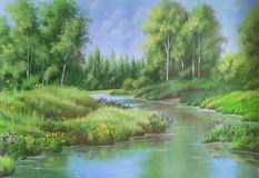 "Summer landscape ""Irises in the Bayou""."