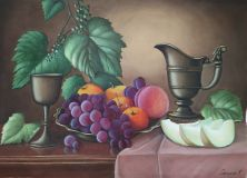 Still life with copper pitcher, melon and grapes.