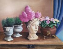 "Garden still life painting ""Venus with hyacinth""."