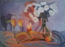 Still life with chrysanthemums, candles and wine.