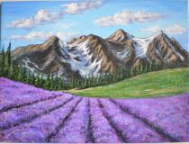 Mountain landscape with blooming lavender