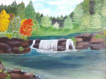 "The painting ""Waterfall in forest"""