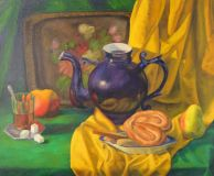 Blue kettle in yellow