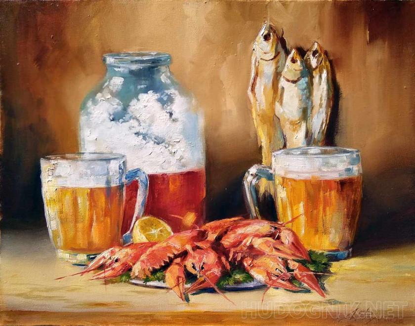 Картина Натюрморт с пивом.. Размеры: 50x40, Год: 2020, Цена: 10000 рублей  Художник Фомин Андрей