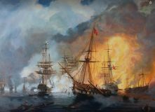 "Free copy of the painting ""Navarino Battle of 1827"" (I. Aivazovsky)"