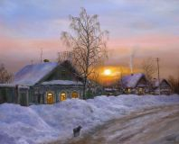 Winter evening in the village