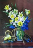 Still life with daffodils and hyacinths