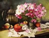 Still life with cosmea and apples