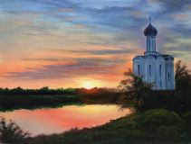 Church of the Pokrova on the Nerl. Dawn.