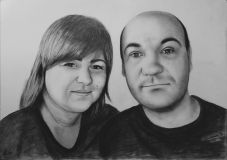 Pencil portrait of a young couple.