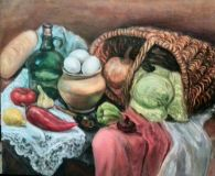 Still life with eggs, vegetables and basket
