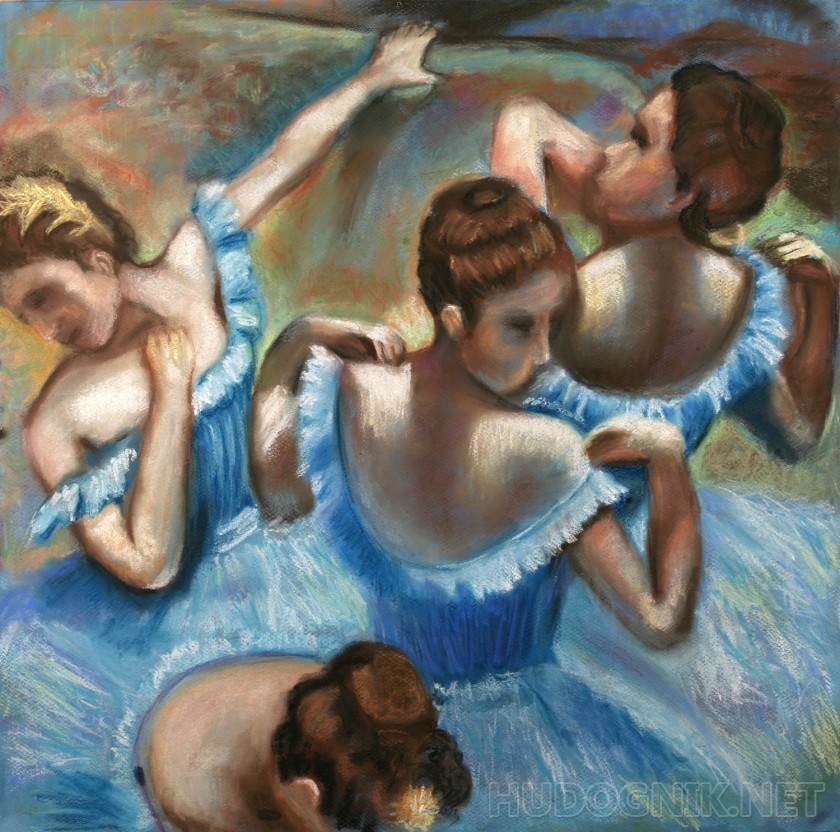 A copy of Degas's Blue dancers
