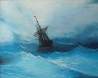 A copy of Aivazovsky ship in a stormy sea